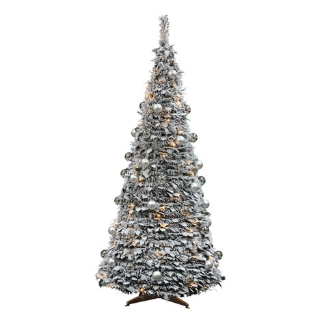 pre lit 6ft frosted pop up tree with decorations