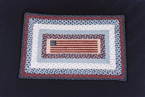 Patriotic Area Rugs Americana Flag Primitive Jute Braided Area Rug Carpet Patriotic New Ebay