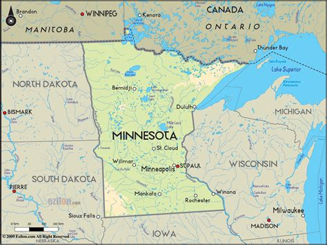 minnesota on the map of usa geographical map of minnesota and minnesota geographical maps