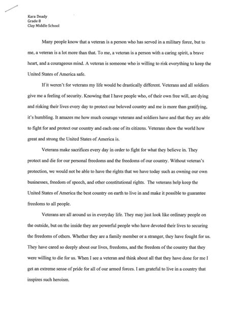 Veterans Essay by City Of In 2013 Veterans Day Essay Contest Winners