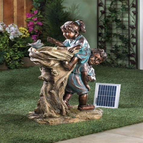 Bird Statues Garden Decor New Children Garden Statue Bird Bath Decor Solar Power Outdoor Yard Ebay