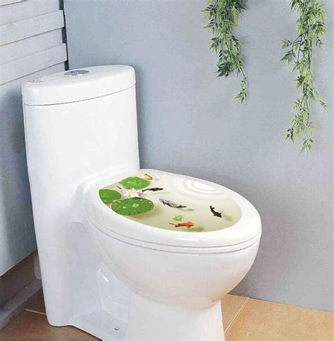 Sticker Dekorasi Kamar Mandi Bathroom Wall Decor Toilet Home decals scooter picture more detailed picture about 3d wall decoration lotus fish stikers