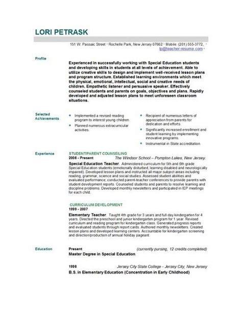 new resume format for teachers resume sles for new teachers best resume collection