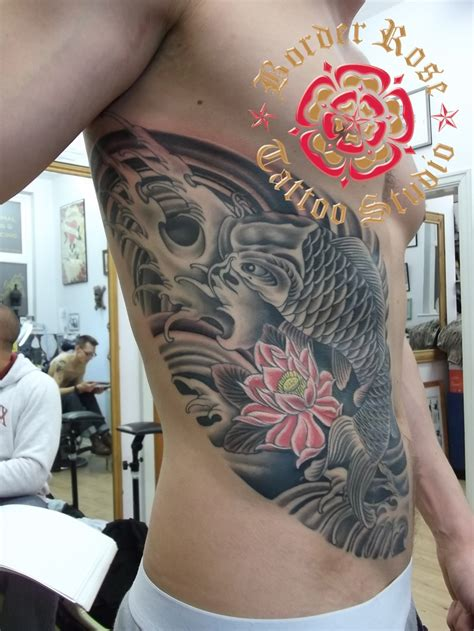 japanese rose tattoo japanese koi by rob border studio