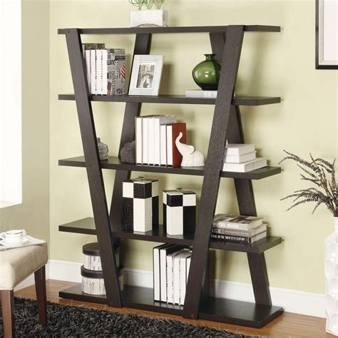 coaster bookshelf with 5 open shelves in cappuccino 800318