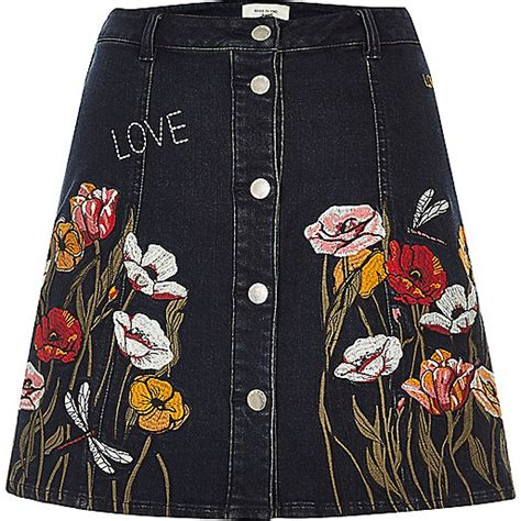 Embroidered A Line Denim Skirt black floral embroidered a line denim skirt mini skirts