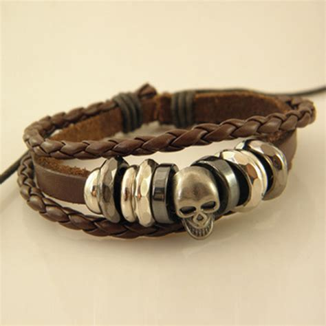 Gelang Vintage Leather Bracelet Bangle Promo free shipping wholesale vintage braided leather bracelet bangle rock skull wristband for