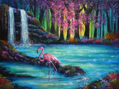 flamingo heaven wallpaper flamingo falls waterfalls nature background
