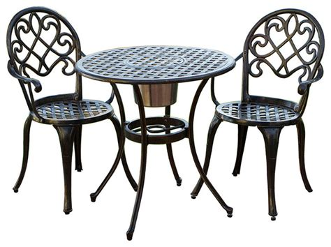 palermo cast aluminum bistro set traditional outdoor pub and bistro sets