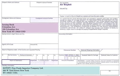Notifying Bank Letter Of Credit How To Complete Consignee And Notify Fields On An Air Waybill Advancedontrade Export