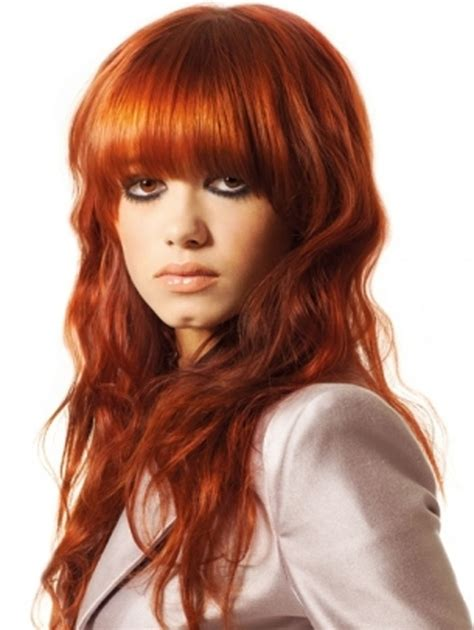 hairstyles colored bangs long curls with bangs hairstyle more trendy with red hair