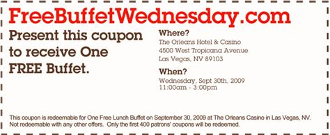 coupons for vegas buffets orleans las vegas coupons