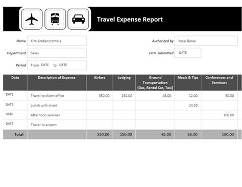Travel Expense Report Travel Expense Sheet Template Free