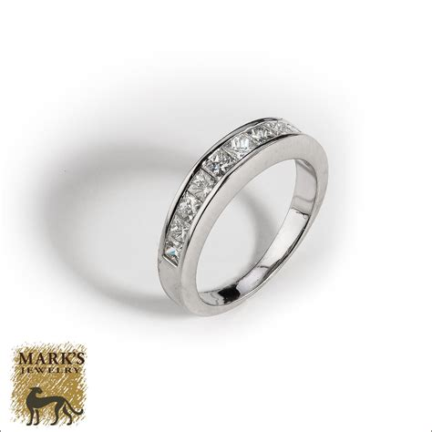 18k white gold band channel set jewelry