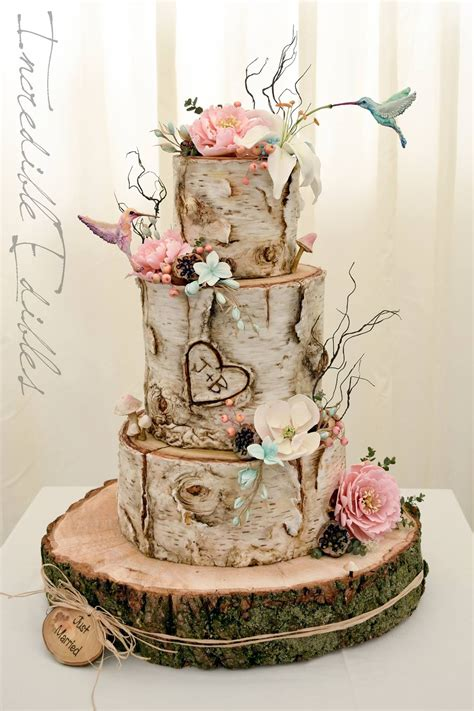 edible s birch logs with a rustic woodland theme wedding cake wedding cakes