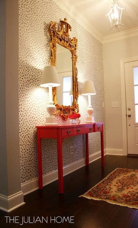 foyer wall stenciled foyer wall with pink console table