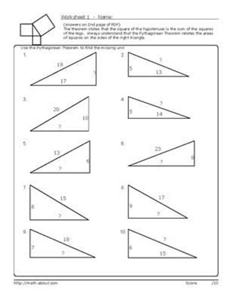 pythagorean s theorem worksheets