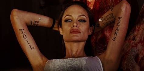 angelina jolie tattoo right forearm the meaning behind angelina jolie s tattoos quotes
