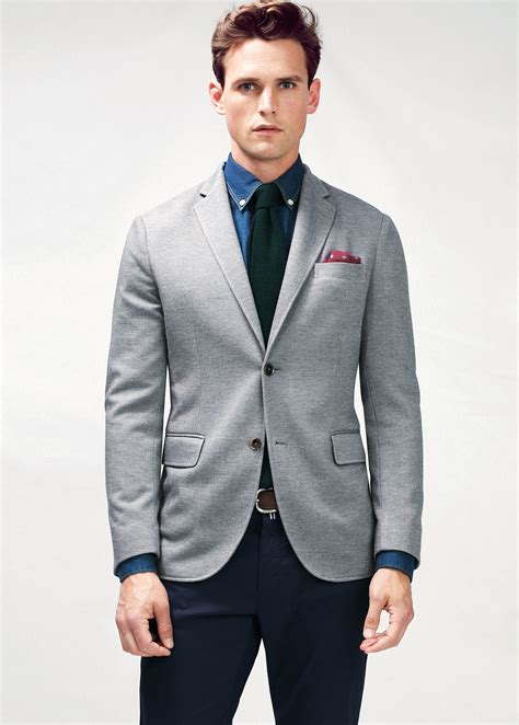 grey blazer mango slim fit cotton piqu 233 blazer in gray for men lyst