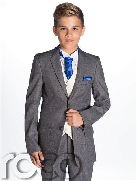 wedding attire for 13 year boy boys grey suit boys cravat pocket square page boy