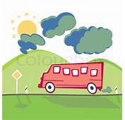 Running Bus On The Mountain Road In Animated Cartoon