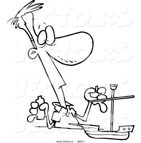 boat maker cartoon vector of a cartoon man building a model boat outlined