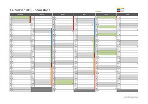 Calendrier 1 Er Semestre 2016 Imprimer Calendrier 2016 Gratuitement Pdf Xls Et Jpg