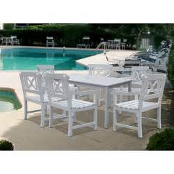 White Patio Furniture Sets by Bradley White 5pc Outdoor Patio Dining Set With X Back Arm
