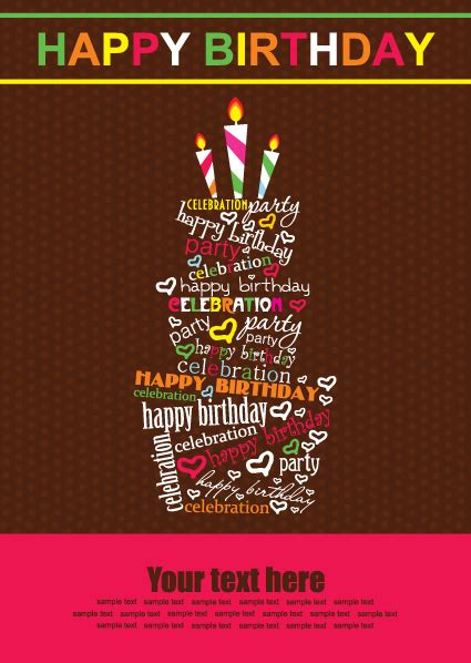 happy birthday material design vector set of happy birthday cake card material 03