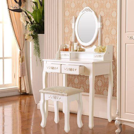 Solid Wood Vanity Table And Stool Set by Ktaxon Elegance White Dressing Table Vanity Table And
