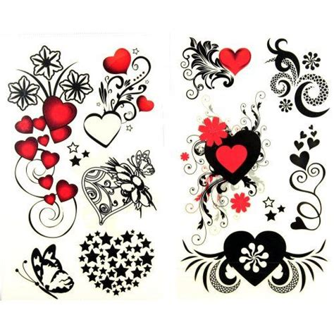 hearts and flowers tattoo designs flower waterproof black