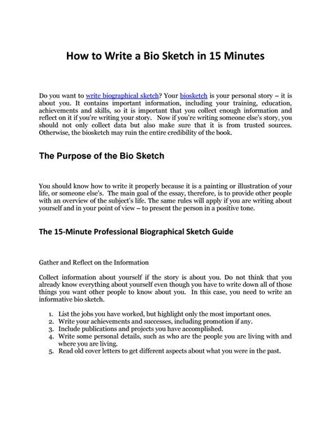 Discover The Secrets To Write Biographical Sketch In 15 Minutes By Biosketch Issuu How To Write A To Your Template