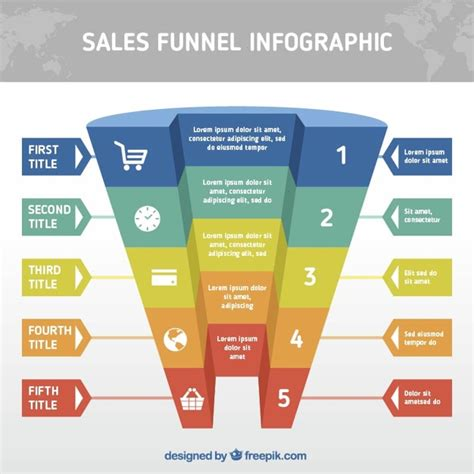 realistic funnel infographic template with different