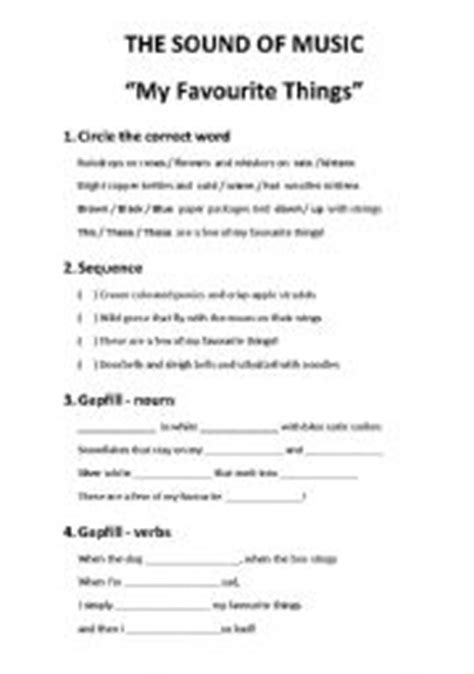 printable lyrics sound of music english worksheets my favourite things from the sound of