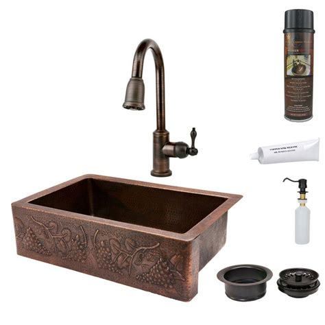 premier copper products premier copper products all in one undermount hammered copper 33 in 0 single basin kitchen