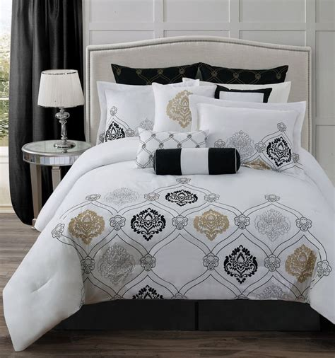 Gold Pattern Sheet Set | classy bed sheet and comforter set with black euro sham