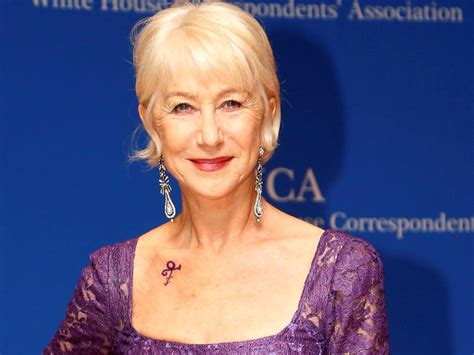 helen mirren pays tribute to prince with purple dress and