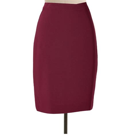 wine pencil skirt with back ruffled kick pleat