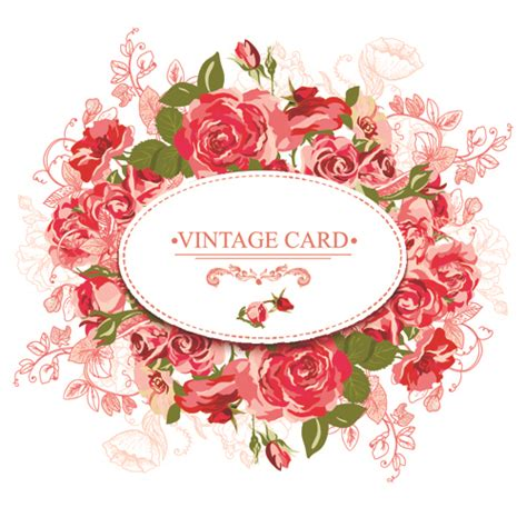 beautiful roses with vintage cards creative vector 02