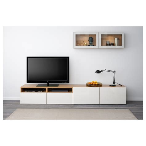 Ikea Besta Tv by Best 197 Tv Storage Combination Glass Doors Oak Effect