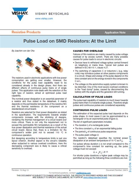 pulse load resistor pulse load on smd resistors at the limit electronic products