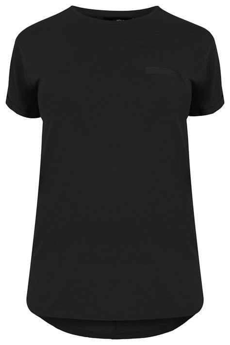 Black Mock Pocket T-Shirt , Plus size 16 to 36
