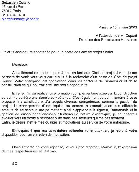 Exemple Lettre De Motivation Candidature Spontanée Vente Exemple De Candidature Spontane