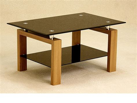 Black Glass Coffee Table With Wood Oak Finish Base Black Glass Coffee Tables