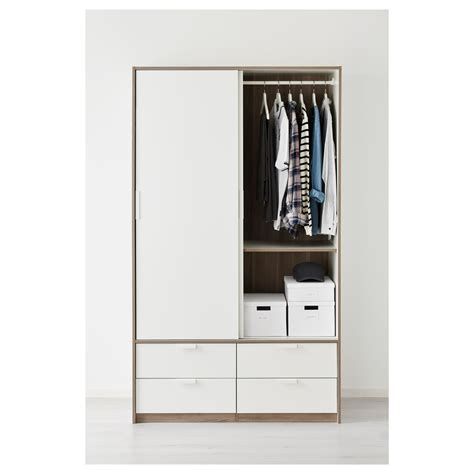 wardrobe with drawers and sliding doors trysil wardrobe w sliding doors 4 drawers white 118x61x202