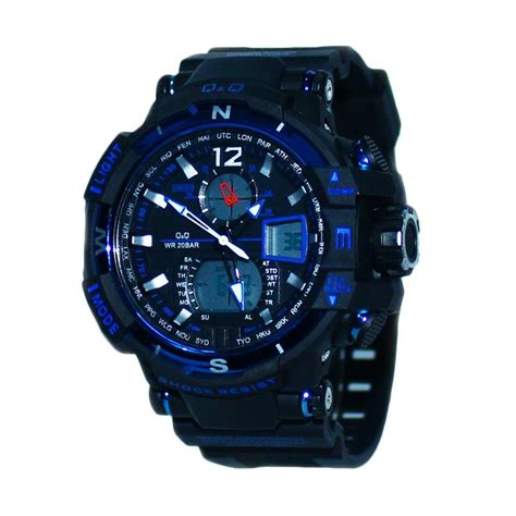Jam Tangan Dual Time Hitam Biru by Jual Q Q K1515 Sporty Dual Time Tali Karet Jam Tangan Pria
