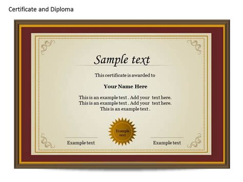 Certificat And Diploma Chart Powerpoint Templates And Backgrounds Certificate Template Powerpoint