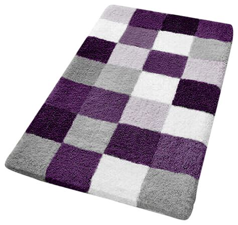 Multi Colored Bathroom Rugs Purple Checker Pattern Rich Multi Color Plush Bathroom Rug Caro Medium Contemporary Bath