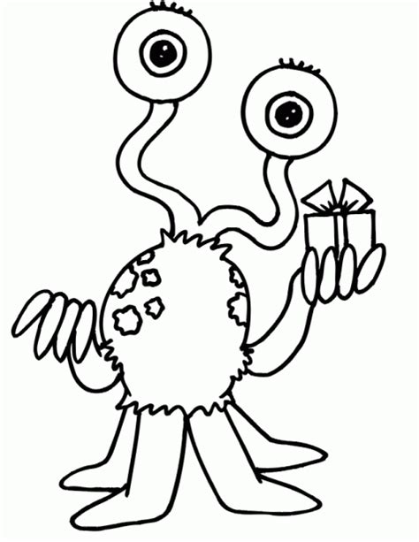 love monster coloring page dibujo de alienigena