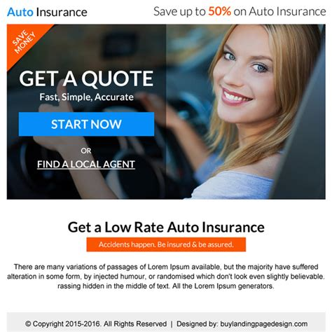 Low Car Insurance Quotes by Ppv Landing Page Design Templates For Your